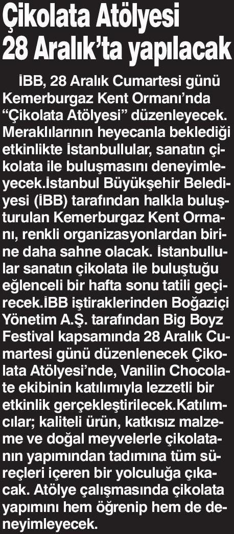 Çikolata Atölyesi – DOKUZ SÜTUN GAZETESİ/21.12.2019
