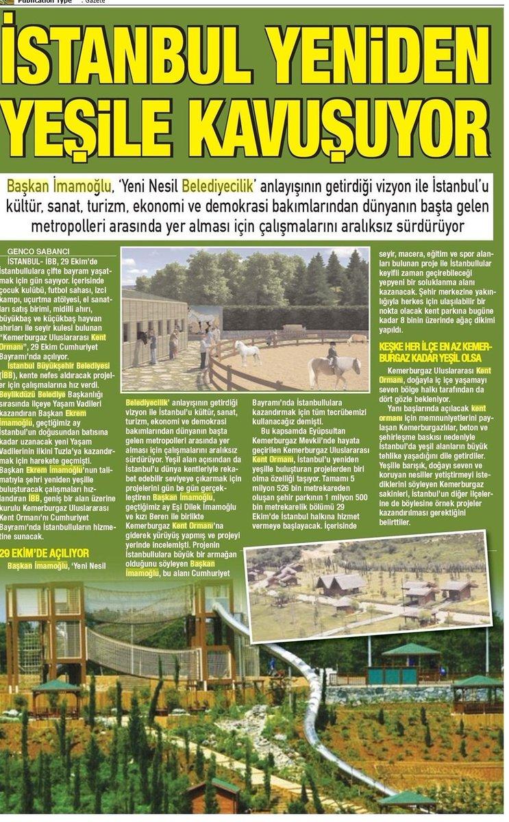 İstanbul Yeniden Yeşile Kavuşuyor – BİZİM ANADOLU GAZETESİ/13.10.2019