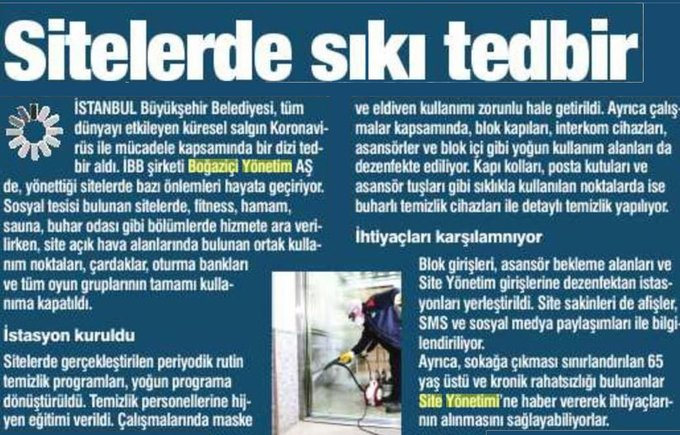 Sitelerde Sıkı Tedbir – DAMGA GAZETESİ/26.03.2020